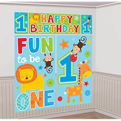 """amscan One Wild Boy 1st Birthday Scene Setters Wall Decorating Kit, 59"""" x 65"""", Blue/Green: Toys & Games"""