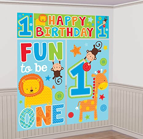 Amazon Amscan One Wild Boy 1st Birthday Scene Setters Wall Decorating Kit 59 X 65 Blue Green Toys Games