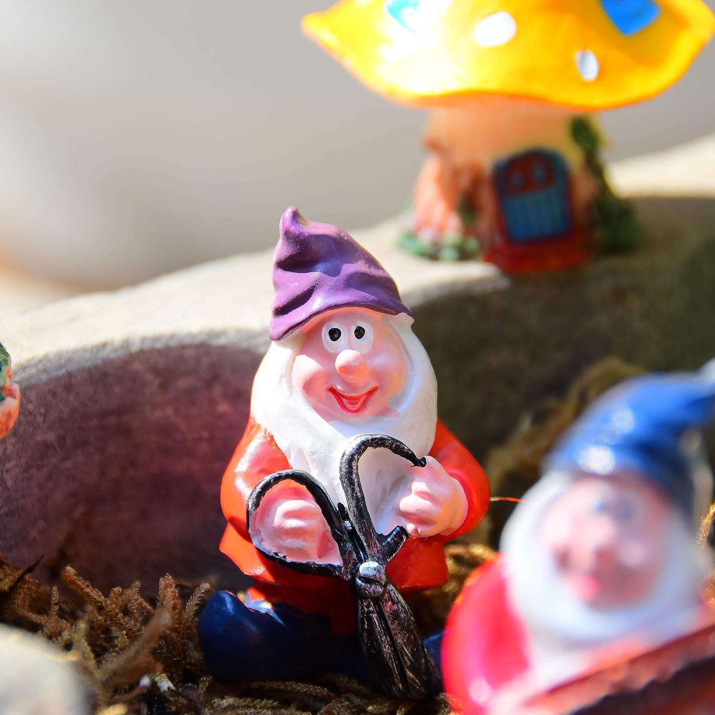 VAINECHEY Feengarten Set Figur Outdoor Decor Miniature Fairy Garden Farbenfreudig Mikrolandschaft Zubeh/ör Miniaturgarten f/ür Bonsai DIY Tiere Pilze Igel Mini Decoration Geschenk