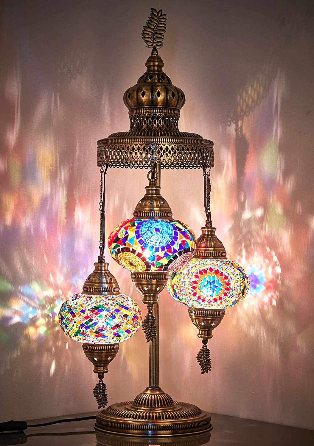 Amazon Com 16 Colors Demmex 2020 3 Big Globes Magnificent Handmade Turkish Moroccan Mosaic Tiffany Table Desk Bedside Lamp Lampshade Night Accent Mood Light For North American Use 31 Height Gift Me Home Improvement