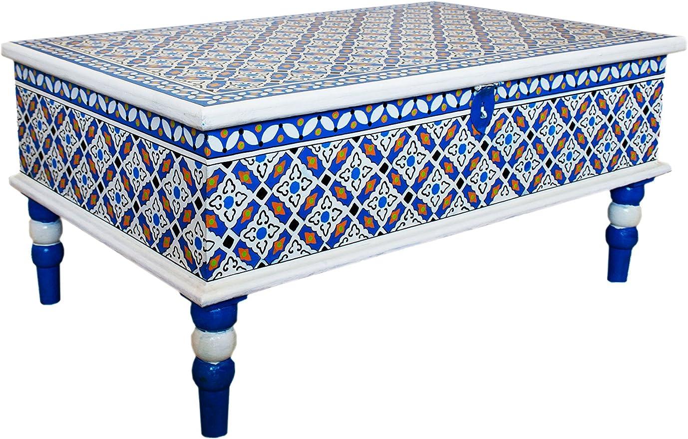 Marroquí mesa mesa (100 cm | mesa sofá de madera pintado a mano ...