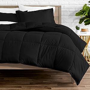 Bare Home Comforter Set - Oversized King - Goose Down Alternative - Ultra-Soft - Premium 1800 Series - Hypoallergenic - All Season Breathable Warmth (Oversized King, Black)