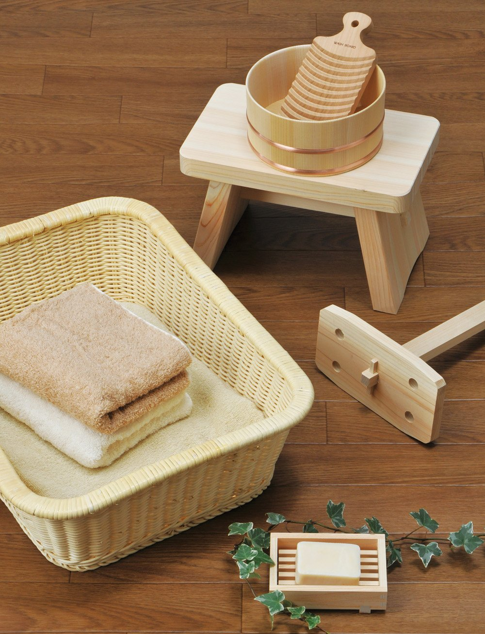 Youbi Made in Japan Hinoki Pure Wood Large Size Bath Stool