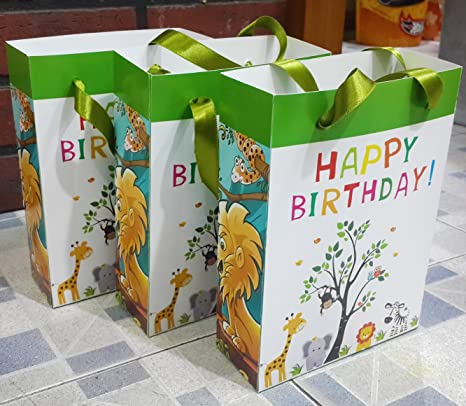 Pack Of 20 Good Quality Animal Theme Paper Bags For Birthday Return Gifts