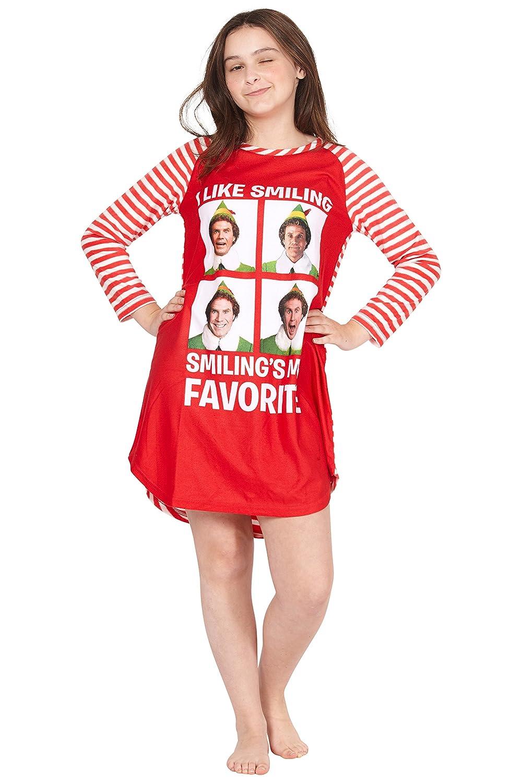Elf The Movie Will Farrell Santa Holiday Christmas Fleece Raglan Nightgown Sleepshirt Pajama