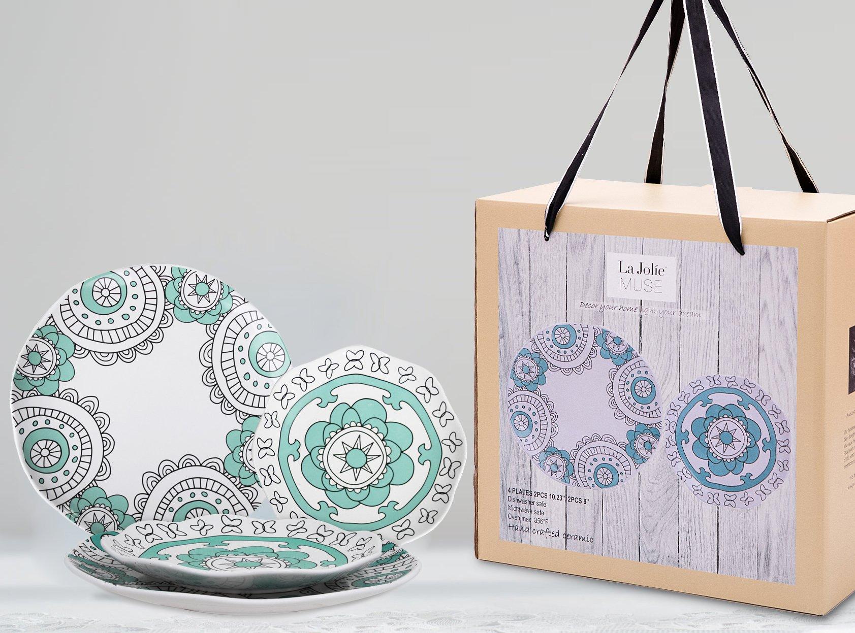 Dinner Plates Appetizer Salad Plate Set 4, Porcelain Mint Blue, Floral Pattern, Accent Serving Plates by LA JOLIE MUSE (Image #7)
