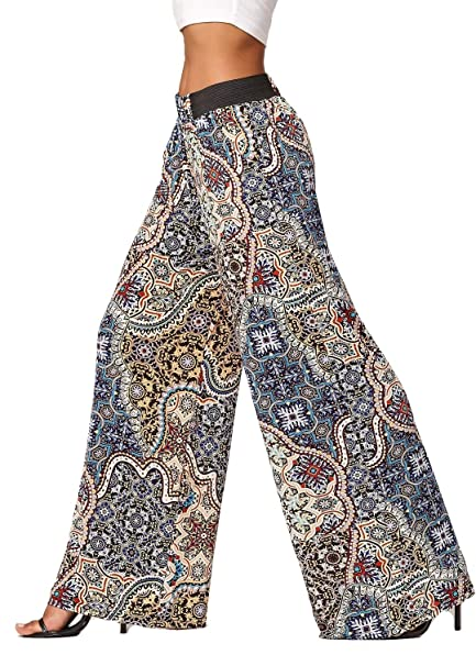 54e3bad654a00b Women's High Waisted Wide Leg Printed Palazzo Pants with Pockets -  Arabesque - One Size - LG237X192 at Amazon Women's Clothing store: