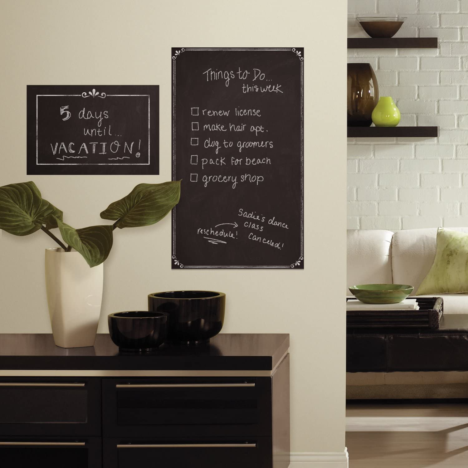 RoomMates Decorative Chalkboard Peel And Stick Giant Wall Decals,Multicolor