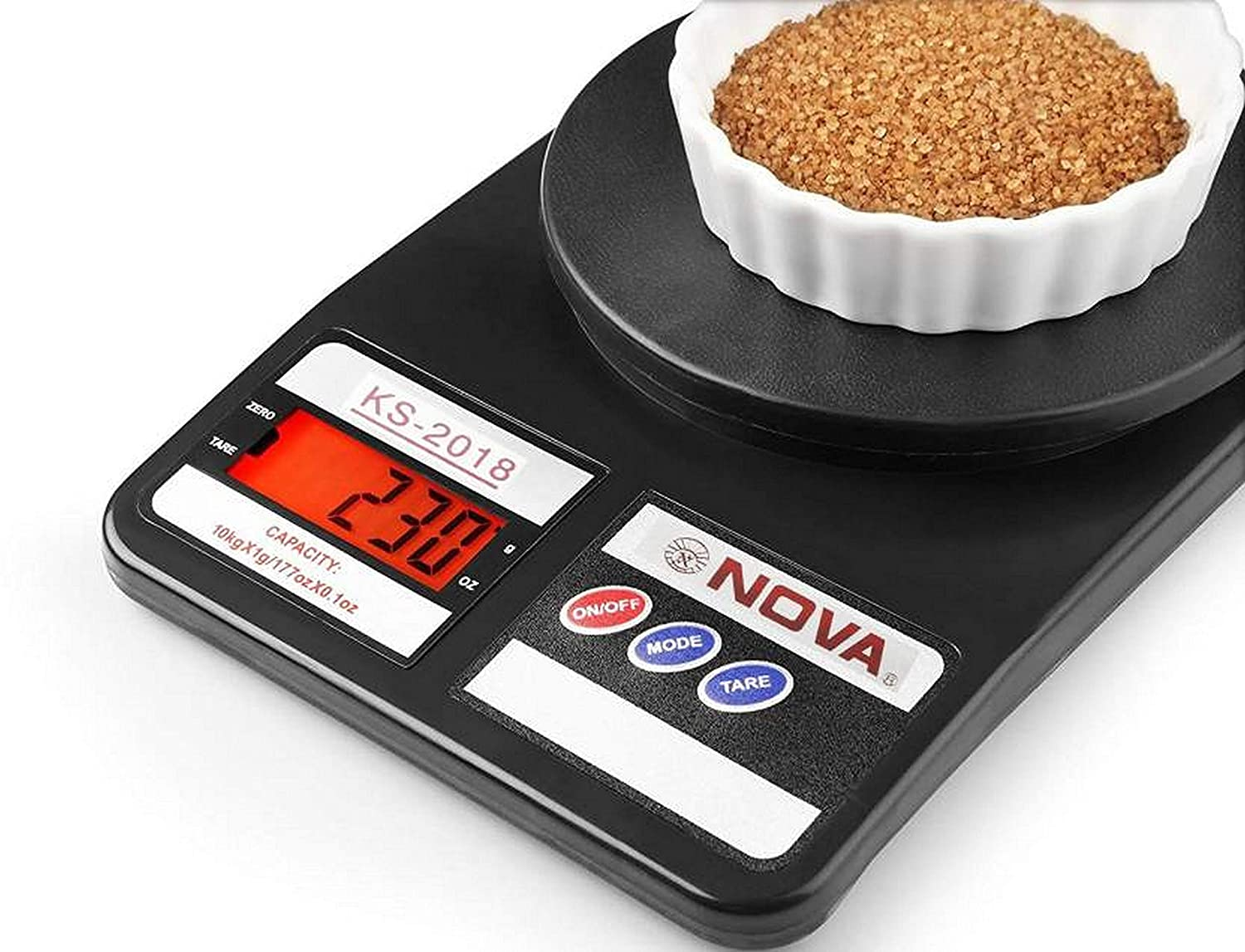 Buy NOVA KS 2018 Plastic Electronic Digital Kitchen Weighing Scale, 10 Kg  (Black) Online at Low Prices in India - Amazon.in