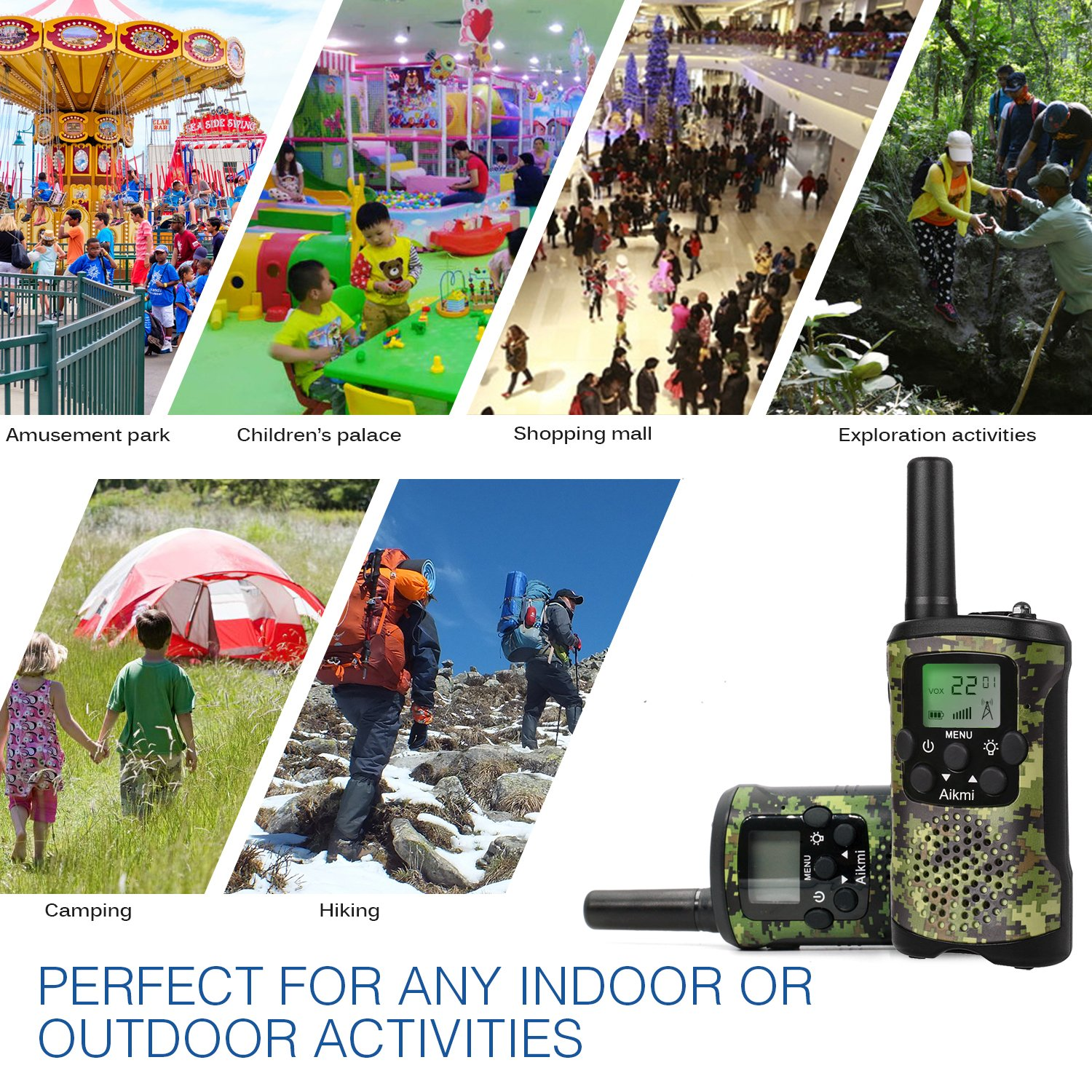Walkie Talkies for Kids 22 Channel 2 Way Radio 3 Miles Long Range Handheld Walkie Talkies Durable Toy Best Birthday Gifts for 6 year old Boys and Girls fit Outdoor Adventure Game Camping (Green Camo) by Aikmi (Image #6)