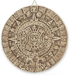 NOVICA Light Brown Archaeological Theme Ceramic Advent Calendar Wall Plaque, Natural Aztec Sun Stone'