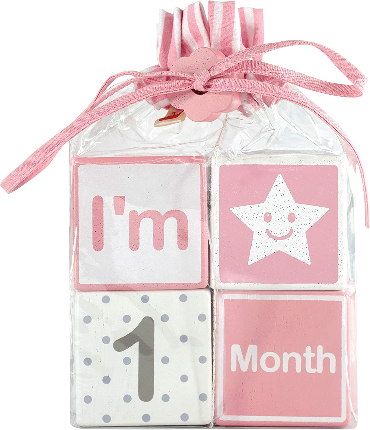 I m Solid Wood Monthly Baby Milestone Age Blocks, Newborn Gifts Keepsakes for Picture Props 4 Pcs Pink
