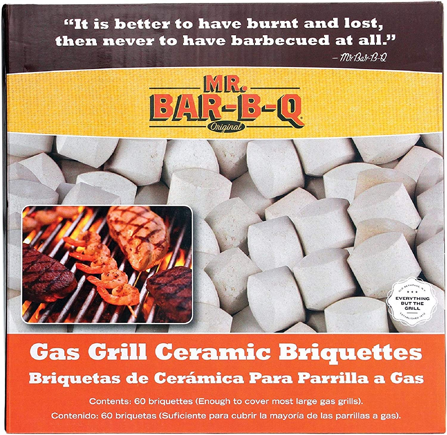 Mr. Bar-B-Q 06000Y Ceramic Gas Grill Self Cleaning Briquettes, Replacement for Lava Rocks, Cleaner Cooking, Gas Grill Briquettes for BBQ Grill, EMW8015680, 60 Count : Grill Parts : Garden & Outdoor