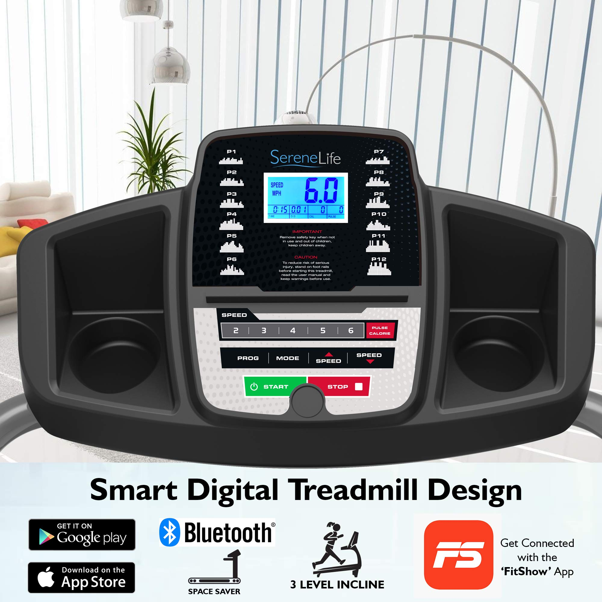 SereneLife Electric Folding Treadmill Exercise Machine - Smart Compact Digital Fitness Treadmill Workout Trainer w/Bluetooth App Sync, Manual Incline Adjustment, for Walking, Running, Gym SLFTRD20 by SereneLife (Image #4)