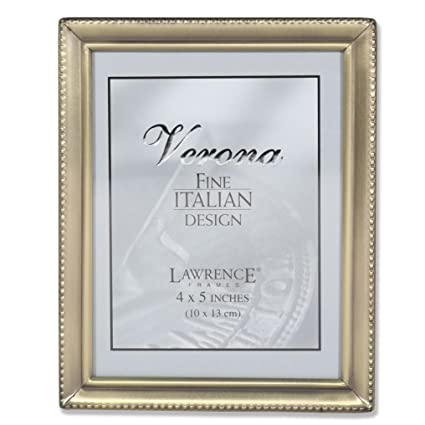 Amazon.com - Lawrence Frames Antique Brass 4x5 Picture Frame - Bead ...