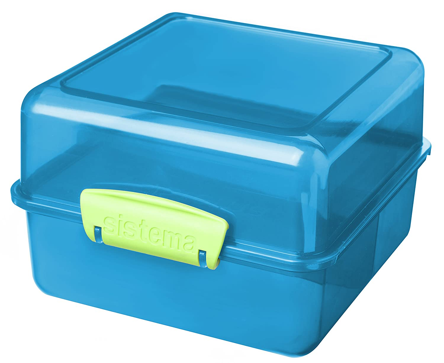 Blue with contrasting Clips Sistema Lunch Cube 1.4 L