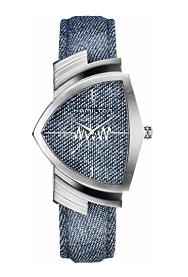 Hamilton Ventura Classic/reloj unisex/Esfera Azul/caja acero/correa tela vaquero y cuero: Amazon.es: Relojes