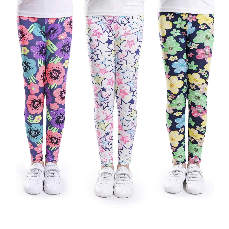 slaixiu Girls Leggings Stretchy Kids Pants Classic Printing Flower Pattern