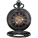 Skeleton Mechanical Pocket Watch with Chain Hand Wind Up Reloj de Bolsillo Mens Steampunk Cosplay- PW33
