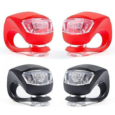 LED Lampes de vélo, éclairage de sécurité imperméable de lampe-torche de puissance, ensemble léger de silicone pour des vélos de vélo de montagne d'enfants (2x la lumi&e