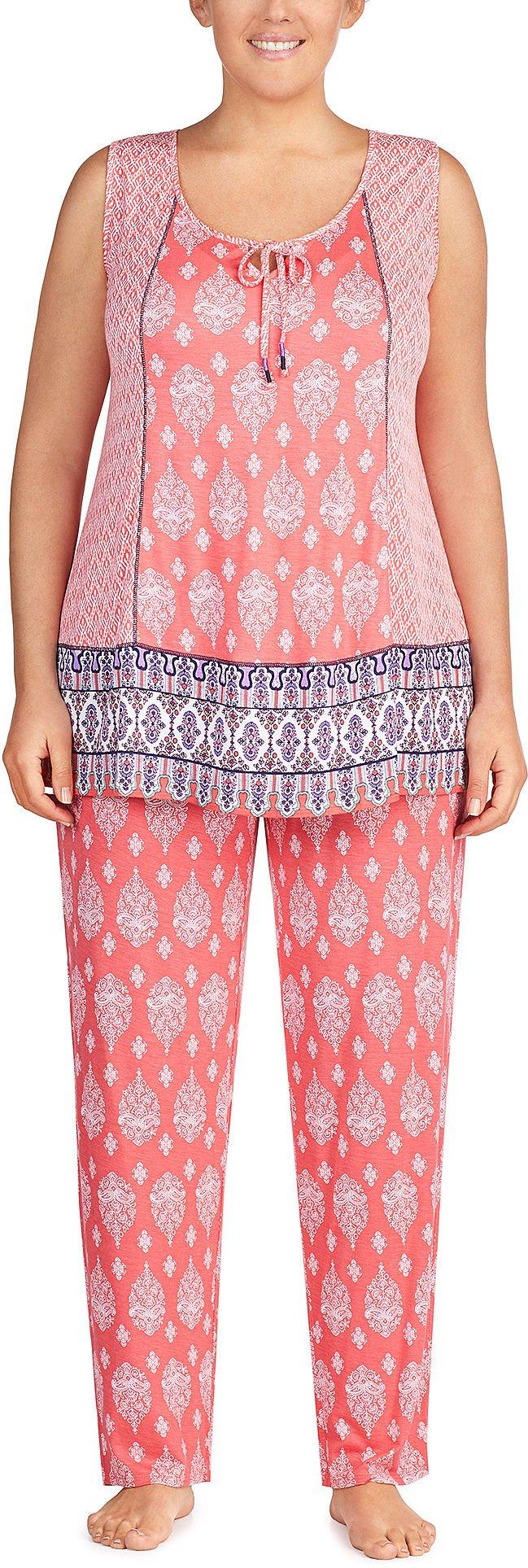 Ellen Tracy Women's Plus Size Sleeveless Pajama Set, Batik geo, 1X