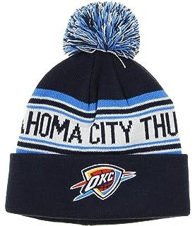 7dede8eb199 Amazon.com   Oklahoma City Thunder Navy   Light Blue Cuffed Pom Knit ...