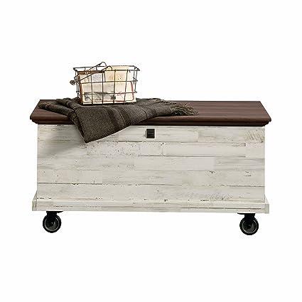 Amazon.com: Sauder 419590 Eden Rue Rolling Chest, White Plank ...