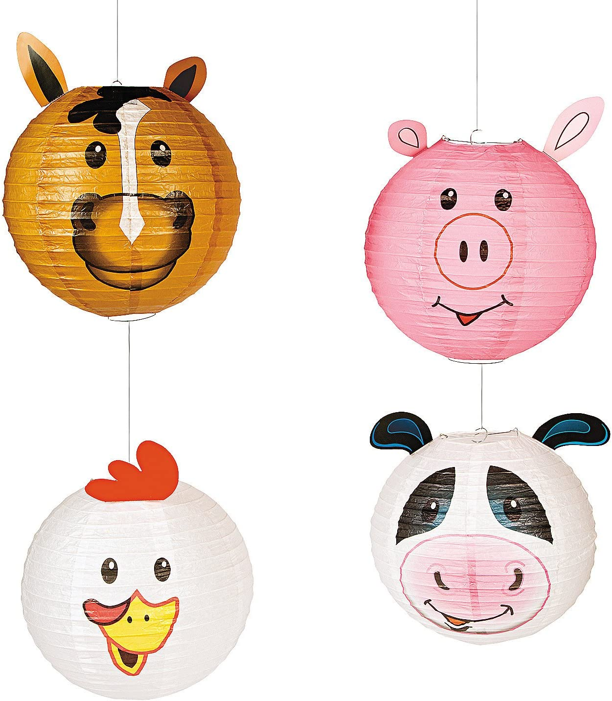 Fun Express Farm Party Paper Hanging Lanterns | 4 Count | Great Decors for Birthdays, Home, Doorway, Bedroom, Barnyard, Ceiling