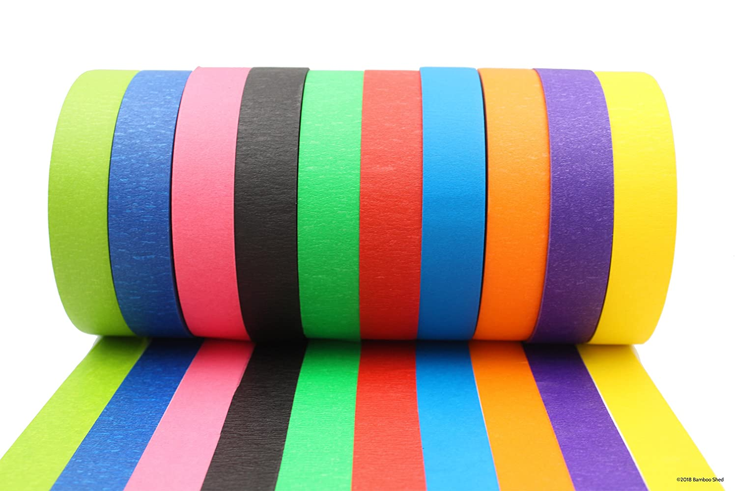 Coloured Tape - Decorative Writable Masking Tape - Large Rolls - Classroom Decorations, Art Projects For Kids, Holiday Decorations - Bright Colours For Coloured Labels and Colour Coding Bambo Shed Bamboo Shed 1 inch x 60yd