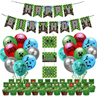 Minercraft Birthday Decorations, Roblox Pixel Miner Crafting Party Supplies - Happy Birthday Banner, 20pcs Balloons…