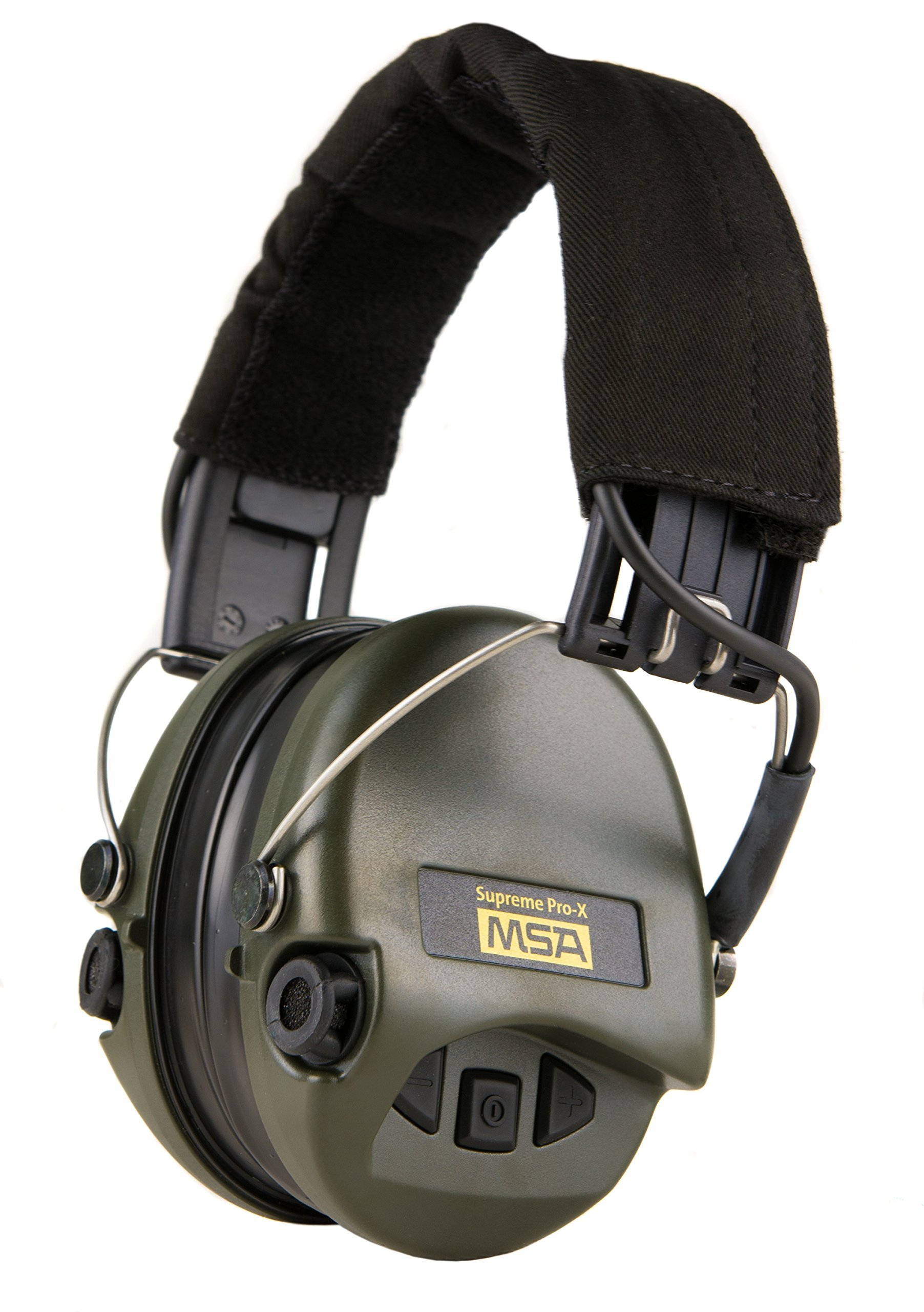 MSA Sordin Supreme PRO X - Digital Electronic Earmuff Amplification AUX-Input Black-Green Gel-Seals by MSA Sordin