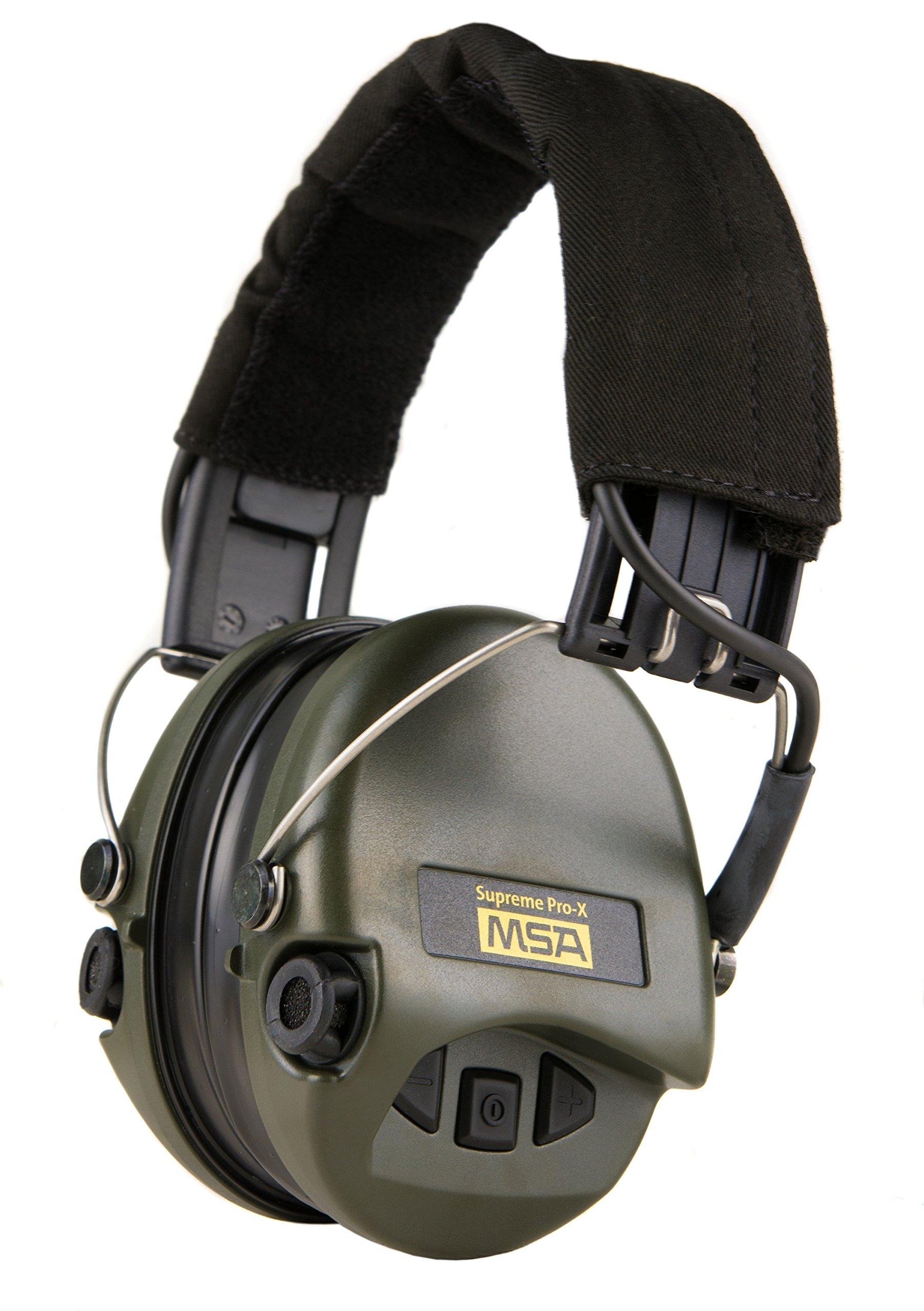 MSA Sordin Supreme PRO X - Digital Electronic Earmuff Amplification AUX-Input Black-Green Gel-Seals