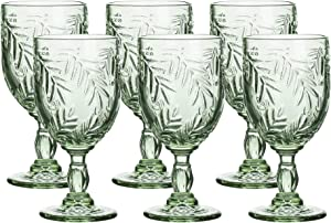 Colored Glass Goblet Vintage - Pressed Pattern Wine Glass Wedding Goblet - 9.4 Ounce Set of 6 (Green)
