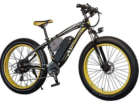 Prescott - Bicicleta eléctrica, neumáticos gruesos, para montaña y nieve, con batería Shimano de hierro y litio extraíble, 21 velocidades, 1000 W, ...