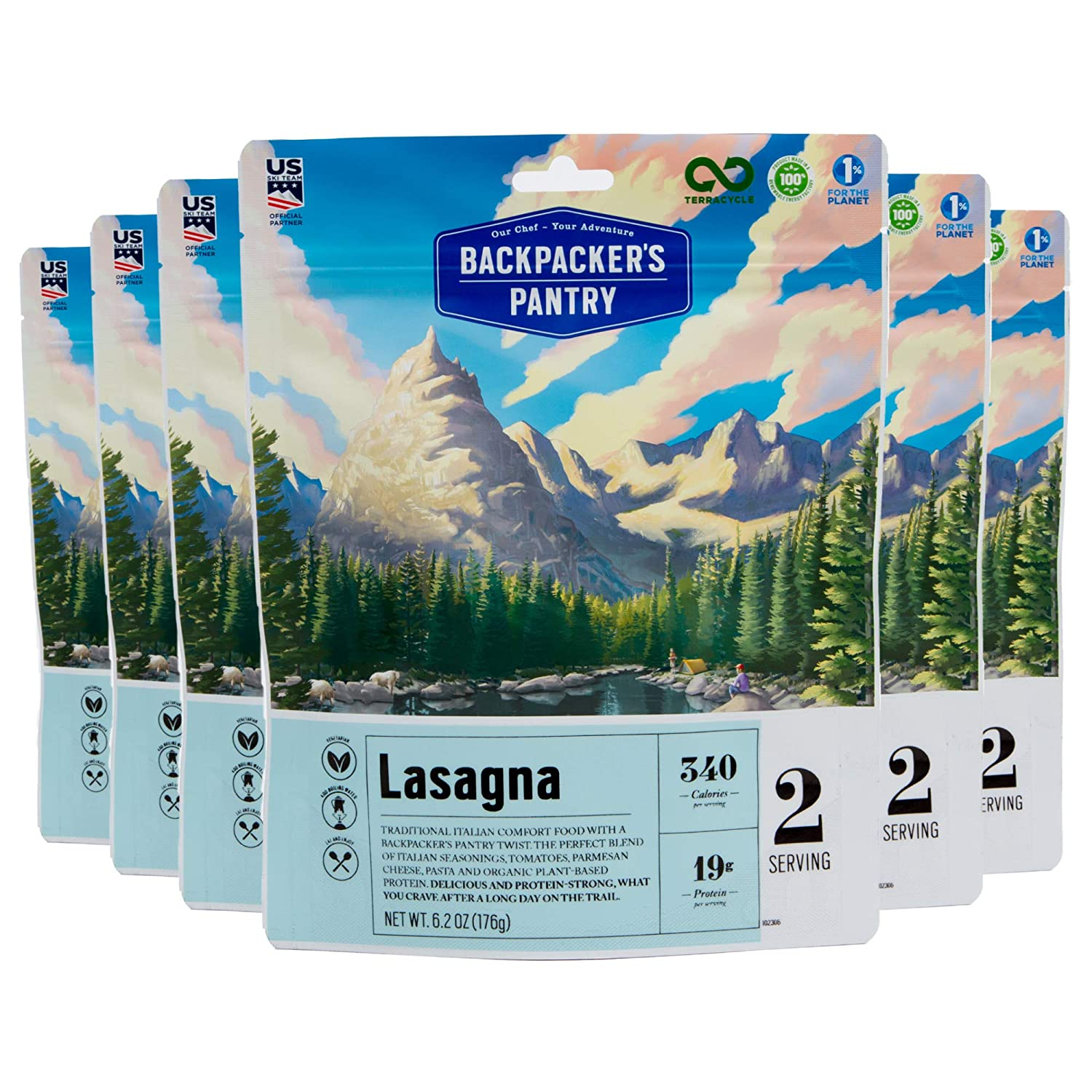 Backpacker's Pantry Lasagna, 2 Servings Per Pouch (6 Count), Freeze Dried Food, 19 Grams of Protein, Vegetarian