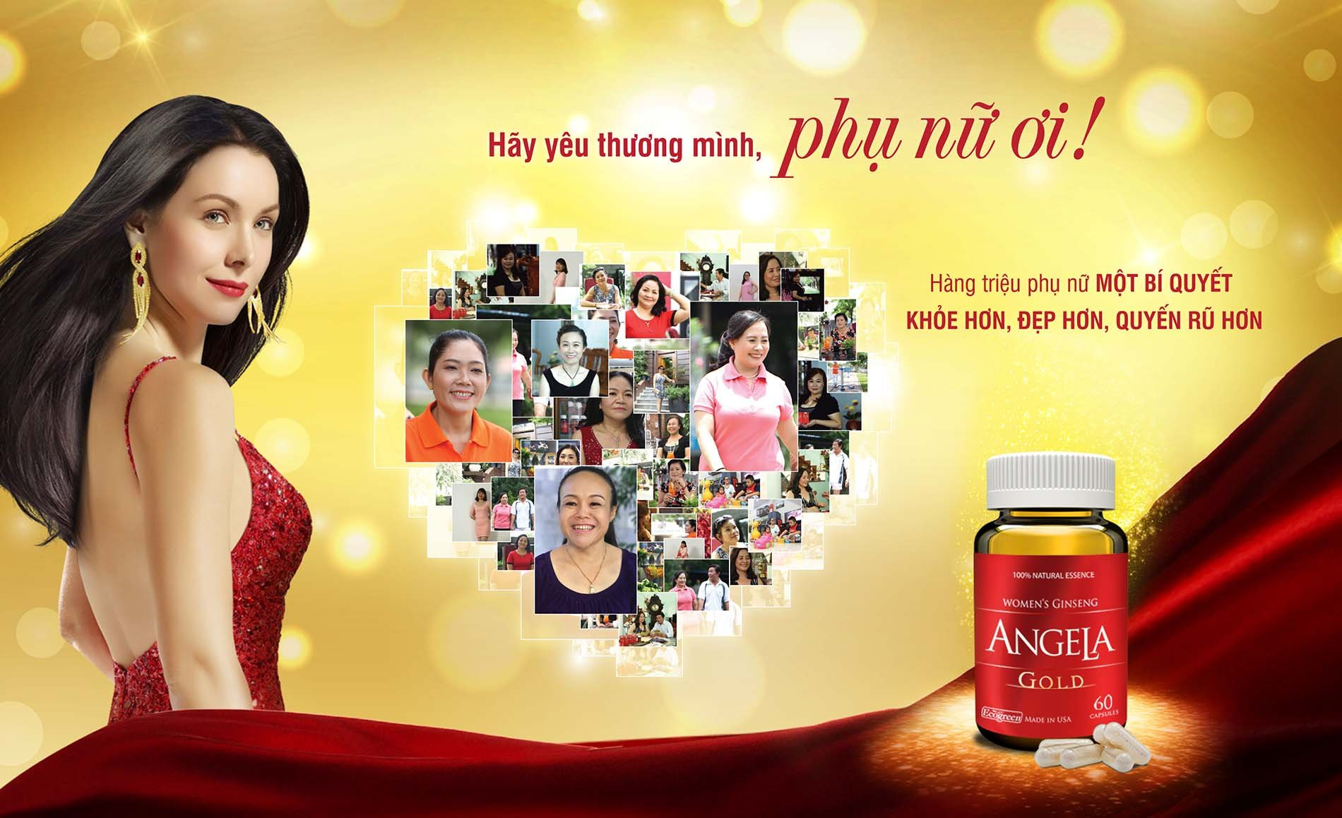 02 box * 60 Capsule ANGELA GOLD Ginseng - Women Estrogen, Progesterone, Testosterone - Sexual Health