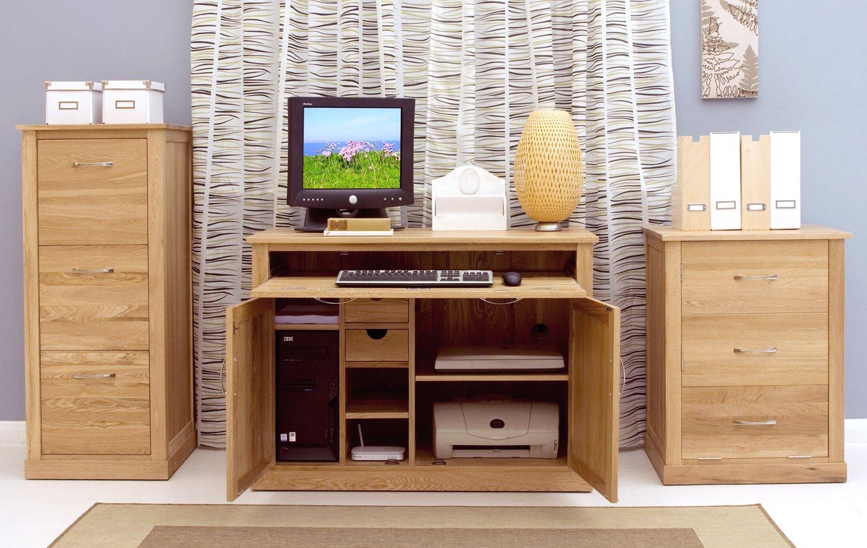mobel oak hidden home office brown baumhaus amazon de kuche haushalt