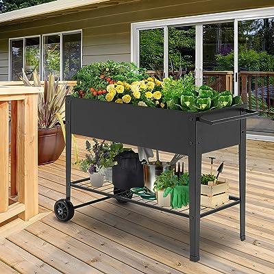Raised Elevated Garden Bed Planter Box w//Shelf Wheels Vegetable Herbs Outdoor