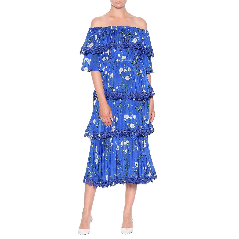 3b0af1872ada Amazon.com: Self Portrait Floral-Printed Crepe midi Dress UK10/US6 Blue:  Clothing