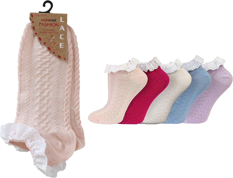 5 Pack Ladies//Womens Fancy Lace Trim Cotton Rich Trainer Liner Socks 4-8 Uk