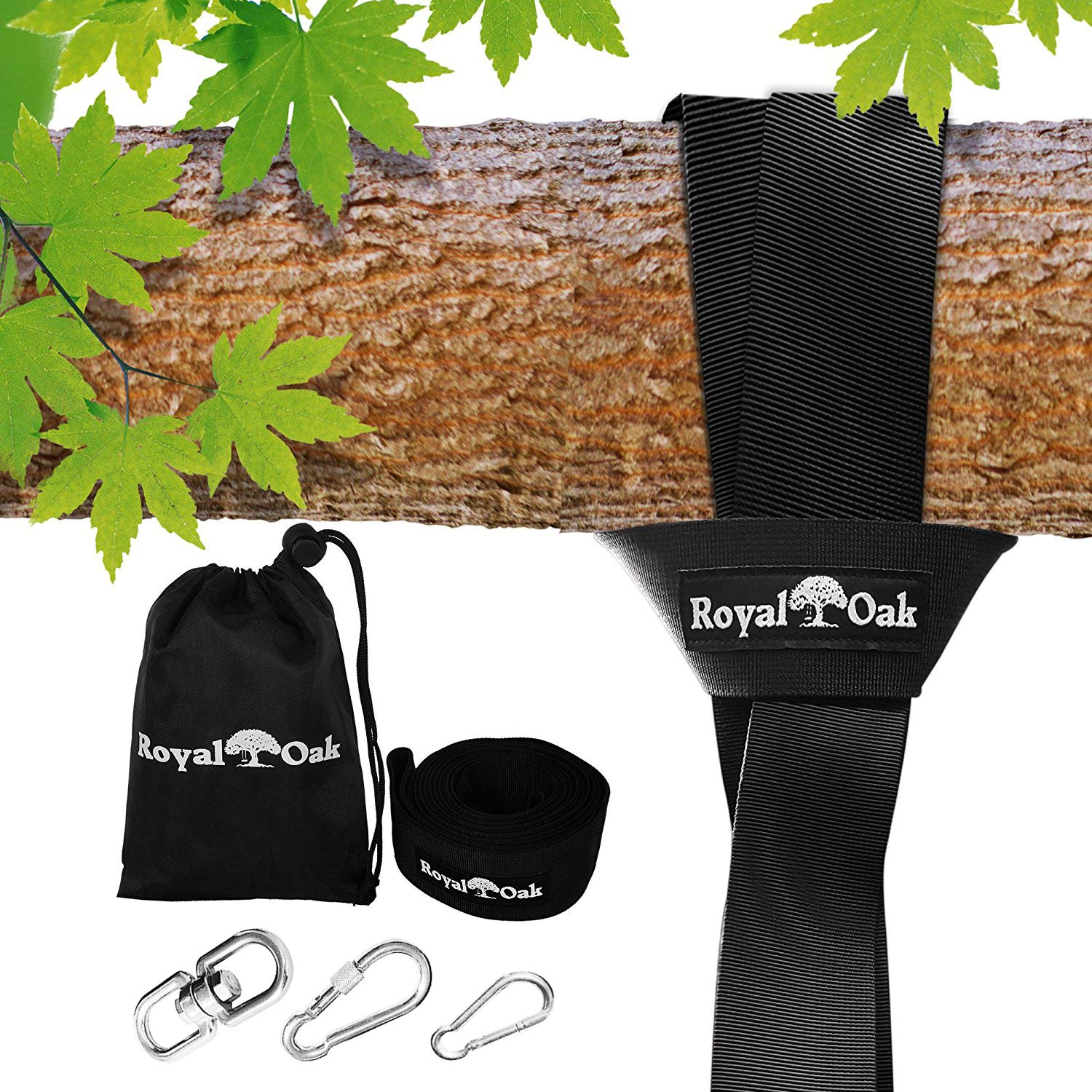 EASY HANG (4FT) TREE SWING STRAP X1 - Holds 2200lbs. - Heavy Duty Carabiner - Bonus Spinner - Perfect for Tire and Saucer Swings - 100% Waterproof - Easy Picture Instructions - Carry Bag Included! by Royal Oak