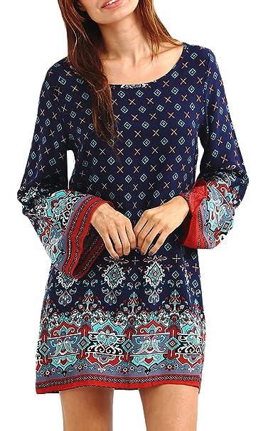 Battercake Vestidos Mujer Tallas Grandes Elegante Primavera Verano Manga Larga Cuello Redondo Casuales Mujeres Etnica Style Camisas Cortas Vestido Moda ...