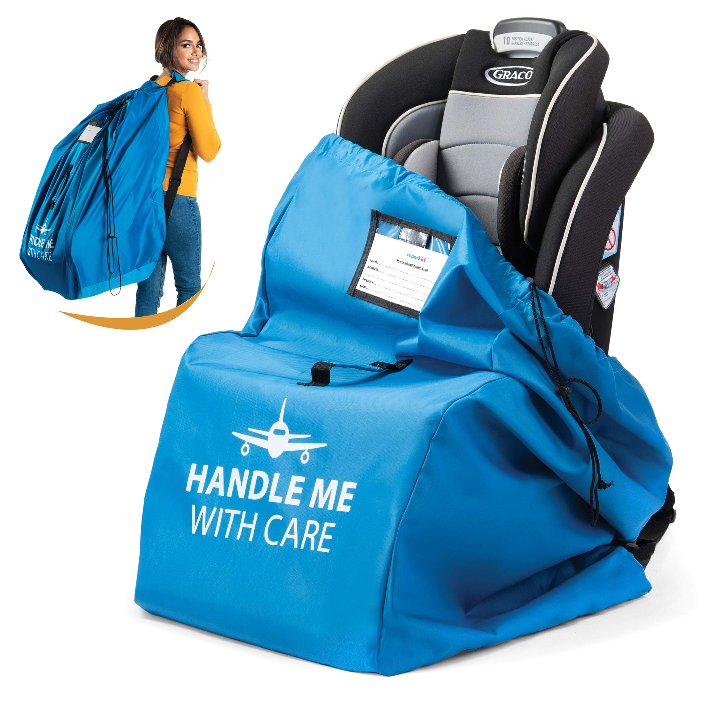 Car Seat Travel Bag for Airplane. Bonus E-Book. Protect from Germs. Safe & Secure. Pouch and Backpack Easy to Carry   Ideal Airplane Gate Check Bag for Car Seats & Booster   Universal Size