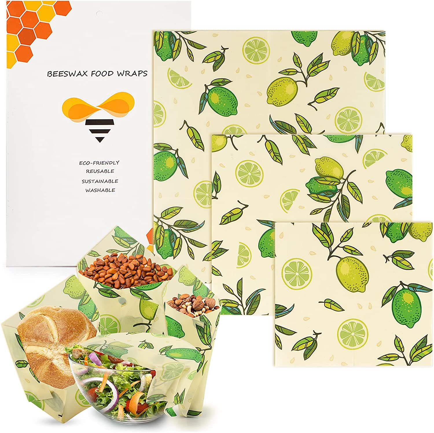 Beeswax Wrap, O-CONN Reusable and Sustainable Beeswax Wraps for Food, Eco Friendly, Zero Waste, Plastic Free Bees Wrap for Food Storage, 3 Sizes (S, M, L)