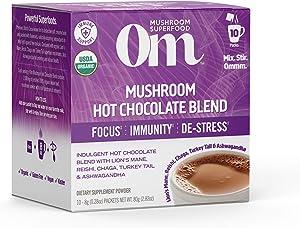 Om Organic Mushroom Superfood Powder, Hot Chocolate Blend, 2.82 Ounce (10 Packets), Lions Mane, Reishi, Chaga, Turkey Tail, Calm & Focus Support Supplement