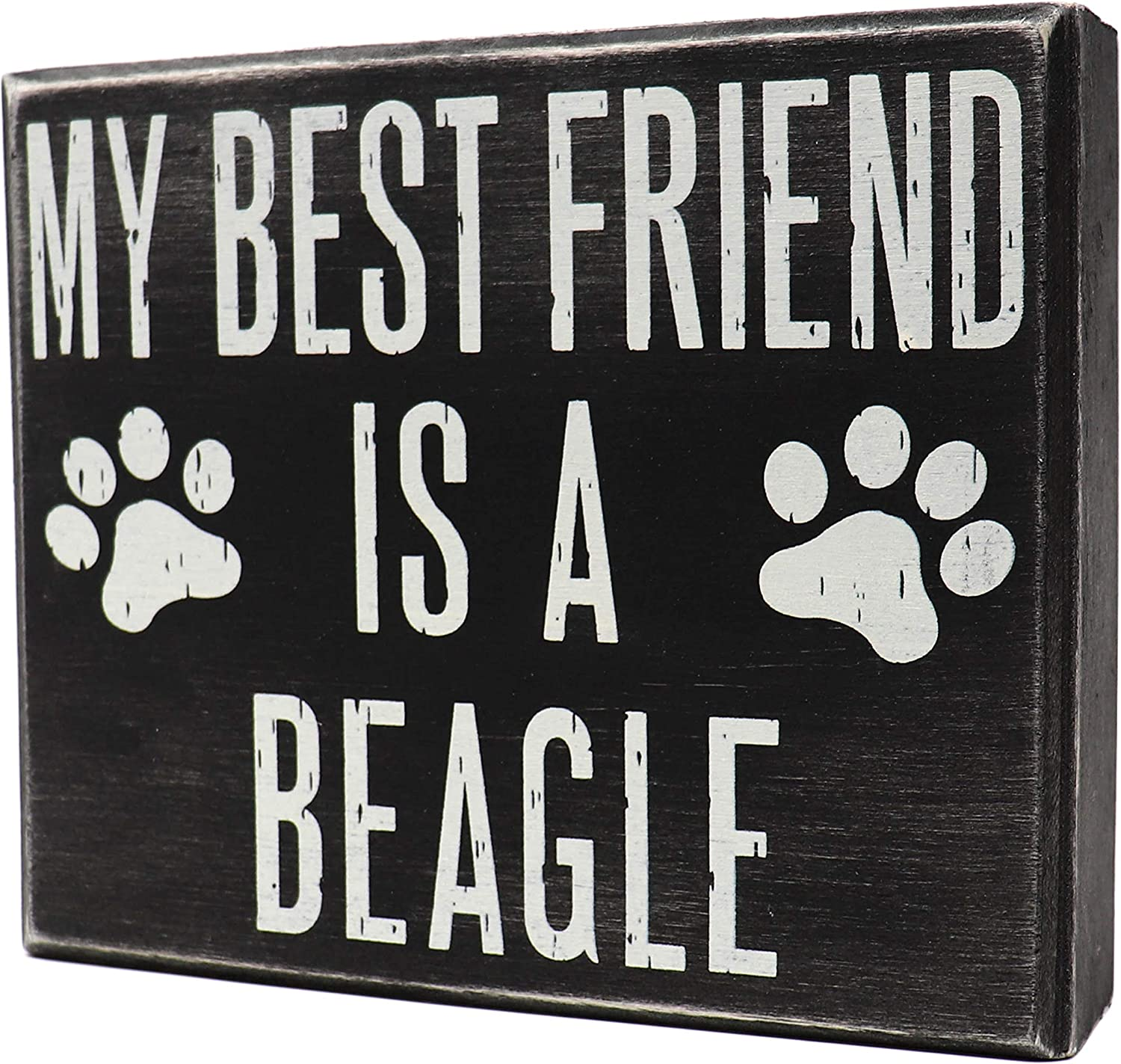 JennyGems - My Best Friend is a Beagle- Wooden Stand Up Box Sign - Beagle Moms Gift - Beagle Decor Signs - Rustic Farmhouse Box Beagle Sign, 6 x 5 x 1.5 inches, Blue tick Beagle, Shelf Knick Knacks