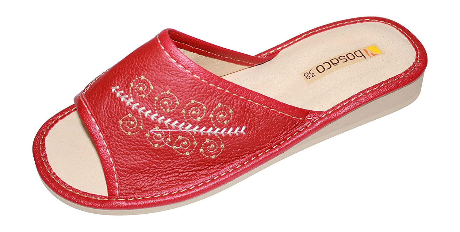Womens Comfort Slip On House Leather Slippers Shoes