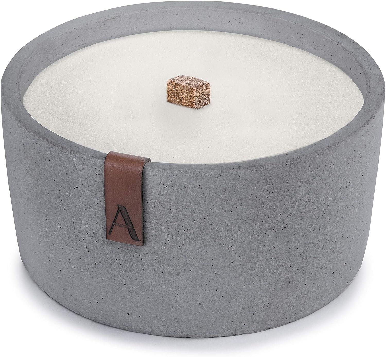 - 10cmx10cmx10cm Tischfeuer als gro/ßer Kerzenfresser Cremefarben Betonkerze Outdoor-Kerze mit Langer Brenndauer Amara Schmelzfeuer mit Dauerdocht Handgemacht in Deutschland