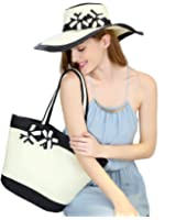 Women's Summer Beach Straw hat and handbag Set Perfect Match (One Bag + One Hat)