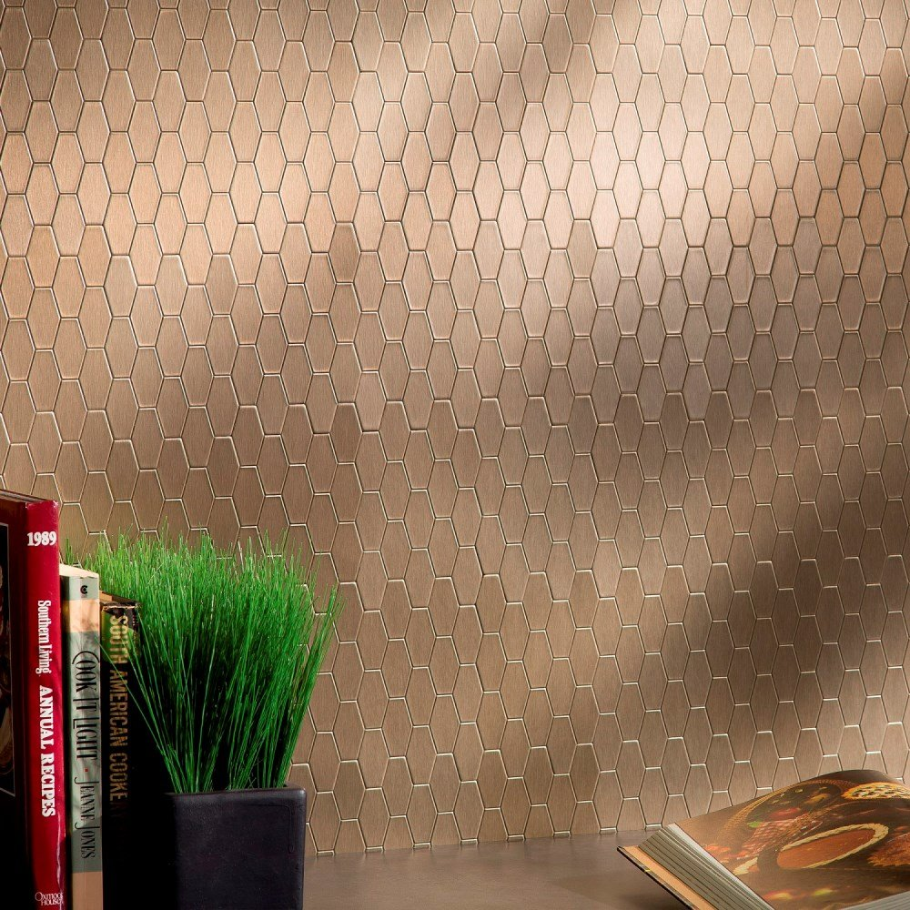 Aspect Peel and Stick Backsplash 6in x 4in Wide Hex Champagne Matted Metal Tile for Kitchen and Bathrooms (6-pack)